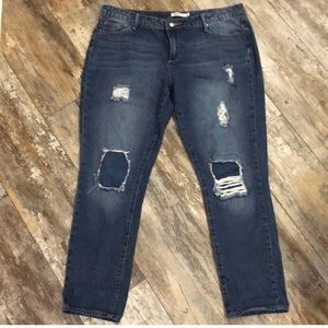 Just Fab   Distressed Plus Cropped Jeans size 32
